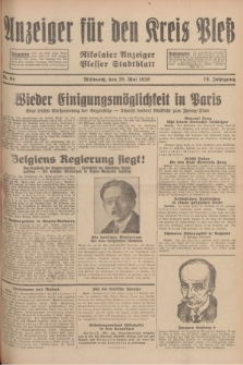 Anzeiger für den Kreis Pleß : Nikolaier Anzeiger : Plesser Stadtblatt. Jg.78, Nr. 64 (29 Mai 1929)