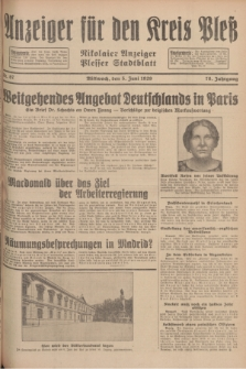 Anzeiger für den Kreis Pleß : Nikolaier Anzeiger : Plesser Stadtblatt. Jg.78, Nr. 67 (5 Juni 1929)