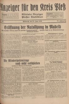 Anzeiger für den Kreis Pleß : Nikolaier Anzeiger : Plesser Stadtblatt. Jg.78, Nr. 70 (12 Juni 1929)