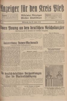 Anzeiger für den Kreis Pleß : Nikolaier Anzeiger : Plesser Stadtblatt. Jg.78, Nr. 73 (19 Juni 1929)