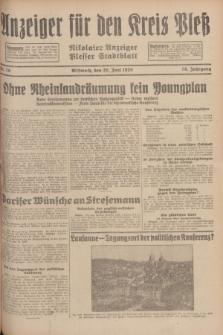 Anzeiger für den Kreis Pleß : Nikolaier Anzeiger : Plesser Stadtblatt. Jg.78, Nr. 76 (26 Juni 1929)