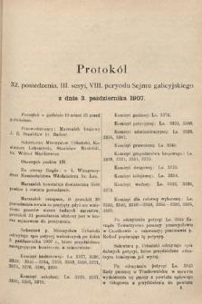 [Kadencja VIII, sesja III, pos.32] Protokoły z III. sesji VIII. peryodu Sejmu Krajowego Królestwa Galicyi i Lodomeryi wraz z Wielkiem Księstwem Krakowskiem w roku 1907. Tom II. Protokół32
