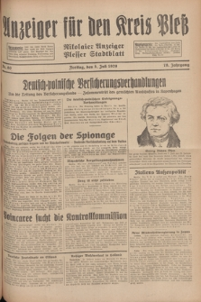 Anzeiger für den Kreis Pleß : Nikolaier Anzeiger : Plesser Stadtblatt. Jg.78, Nr. 80 (5 Juli 1929)