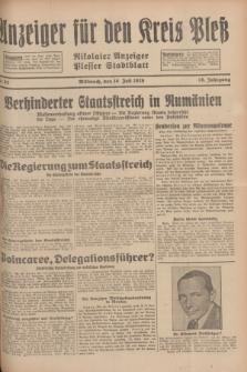 Anzeiger für den Kreis Pleß : Nikolaier Anzeiger : Plesser Stadtblatt. Jg.78, Nr. 82 (10 Juli 1929)