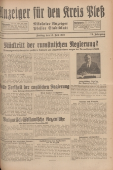 Anzeiger für den Kreis Pleß : Nikolaier Anzeiger : Plesser Stadtblatt. Jg.78, Nr. 83 (12 Juli 1929)