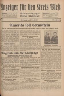 Anzeiger für den Kreis Pleß : Nikolaier Anzeiger : Plesser Stadtblatt. Jg.78, Nr. 85 (17 Juli 1929)
