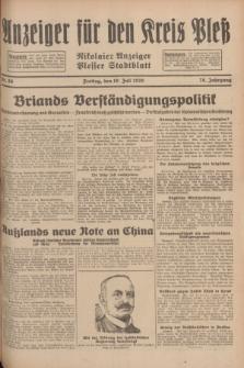 Anzeiger für den Kreis Pleß : Nikolaier Anzeiger : Plesser Stadtblatt. Jg.78, Nr. 86 (19 Juli 1929)