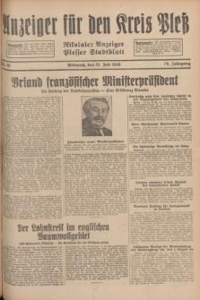 Anzeiger für den Kreis Pleß : Nikolaier Anzeiger : Plesser Stadtblatt. Jg.78, Nr. 91 (31 Juli1929)