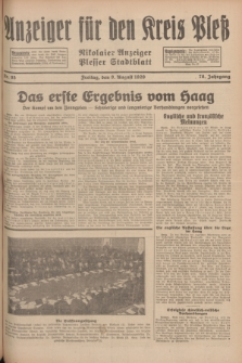 Anzeiger für den Kreis Pleß : Nikolaier Anzeiger : Plesser Stadtblatt. Jg.78, Nr. 95 (9 August 1929)