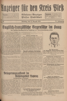 Anzeiger für den Kreis Pleß : Nikolaier Anzeiger : Plesser Stadtblatt. Jg.78, Nr. 96 (11 August 1929)