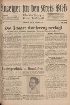 Anzeiger für den Kreis Pleß : Nikolaier Anzeiger : Plesser Stadtblatt. Jg.78, Nr. 97 (14 August 1929)