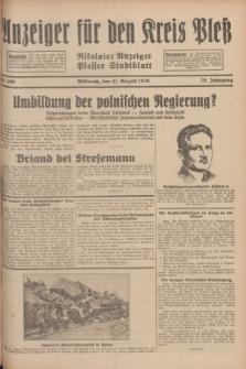 Anzeiger für den Kreis Pleß : Nikolaier Anzeiger : Plesser Stadtblatt. Jg.78, Nr. 100 (21 August 1929)