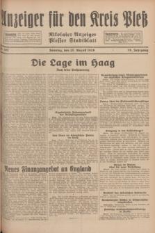 Anzeiger für den Kreis Pleß : Nikolaier Anzeiger : Plesser Stadtblatt. Jg.78, Nr. 102 (25 August 1929)