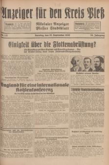 Anzeiger für den Kreis Pleß : Nikolaier Anzeiger : Plesser Stadtblatt. Jg.78, Nr. 111 (15 September 1929)