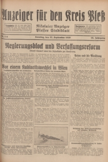 Anzeiger für den Kreis Pleß : Nikolaier Anzeiger : Plesser Stadtblatt. Jg.78, Nr. 114 (22 September 1929)