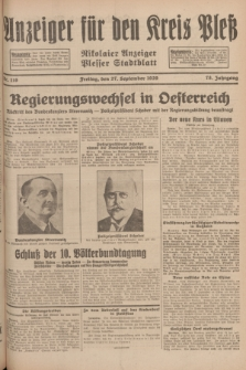 Anzeiger für den Kreis Pleß : Nikolaier Anzeiger : Plesser Stadtblatt. Jg.78, Nr. 116 (27 September 1929)