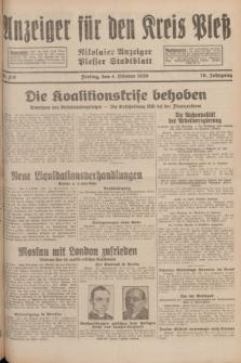 Anzeiger für den Kreis Pleß : Nikolaier Anzeiger : Plesser Stadtblatt. Jg.78, Nr. 119 (4 October 1929)