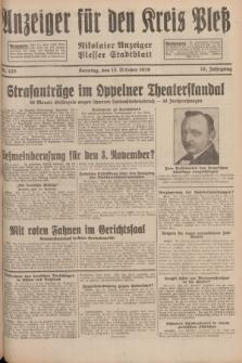 Anzeiger für den Kreis Pleß : Nikolaier Anzeiger : Plesser Stadtblatt. Jg.78, Nr. 123 (13 October 1929)