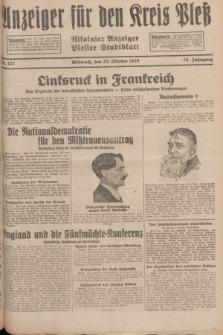 Anzeiger für den Kreis Pleß : Nikolaier Anzeiger : Plesser Stadtblatt. Jg.78, Nr. 127 (23 October 1929)