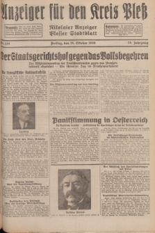 Anzeiger für den Kreis Pleß : Nikolaier Anzeiger : Plesser Stadtblatt. Jg.78, Nr. 128 (25 October 1929)