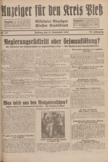 Anzeiger für den Kreis Pleß : Nikolaier Anzeiger : Plesser Stadtblatt. Jg.78, Nr. 137 (15 November 1929)