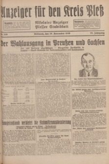 Anzeiger für den Kreis Pleß : Nikolaier Anzeiger : Plesser Stadtblatt. Jg.78, Nr. 139 (20 November 1929)