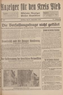 Anzeiger für den Kreis Pleß : Nikolaier Anzeiger : Plesser Stadtblatt. Jg.78, Nr. 140 (22 November 1929)