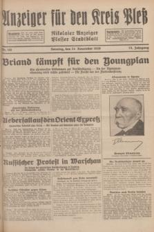 Anzeiger für den Kreis Pleß : Nikolaier Anzeiger : Plesser Stadtblatt. Jg.78, Nr. 141 (24 November 1929)