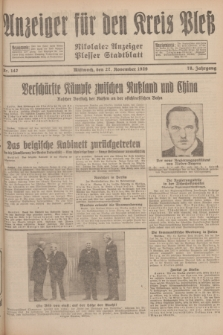 Anzeiger für den Kreis Pleß : Nikolaier Anzeiger : Plesser Stadtblatt. Jg.78, Nr. 142 (27 November 1929)