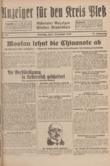 Anzeiger für den Kreis Pleß : Nikolaier Anzeiger : Plesser Stadtblatt. Jg.78, Nr. 144 (1 December 1929)