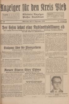 Anzeiger für den Kreis Pleß : Nikolaier Anzeiger : Plesser Stadtblatt. Jg.78, Nr. 148 (11 December 1929)