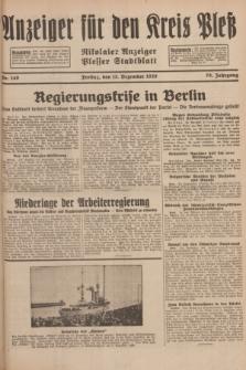 Anzeiger für den Kreis Pleß : Nikolaier Anzeiger : Plesser Stadtblatt. Jg.78, Nr. 149 (13 December 1929)
