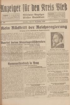 Anzeiger für den Kreis Pleß : Nikolaier Anzeiger : Plesser Stadtblatt. Jg.78, Nr. 150 (15 Dezember 1929)