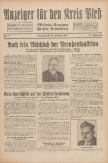 Anzeiger für den Kreis Pleß : Nikolaier Anzeiger : Plesser Stadtblatt. Jg.79, Nr. 12 (26 Januar 1930)