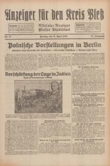 Anzeiger für den Kreis Pleß : Nikolaier Anzeiger : Plesser Stadtblatt. Jg.79, Nr. 47 (18 April 1930)