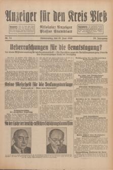 Anzeiger für den Kreis Pleß : Nikolaier Anzeiger : Plesser Stadtblatt. Jg.79, Nr. 74 (19 Juni 1930)