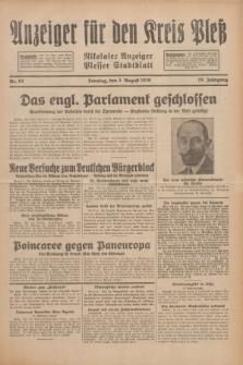 Anzeiger für den Kreis Pleß : Nikolaier Anzeiger : Plesser Stadtblatt. Jg.79, Nr. 93 (3 August 1930)