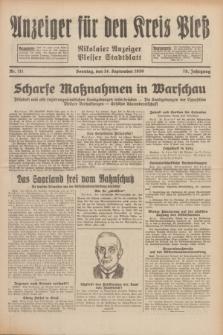 Anzeiger für den Kreis Pleß : Nikolaier Anzeiger : Plesser Stadtblatt. Jg.79, Nr. 111 (14 September 1930)