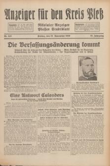 Anzeiger für den Kreis Pleß : Nikolaier Anzeiger : Plesser Stadtblatt. Jg.79, Nr. 143 (28 November 1930)