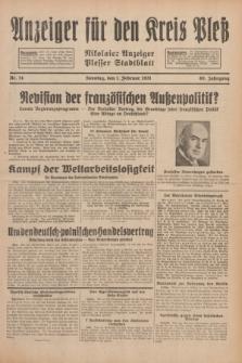 Anzeiger für den Kreis Pleß : Nikolaier Anzeiger : Plesser Stadtblatt. Jg.80, Nr. 14 (1 Februar 1931)