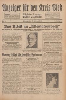 Anzeiger für den Kreis Pleß : Nikolaier Anzeiger : Plesser Stadtblatt. Jg.80, Nr. 21 (18 Februar 1931)