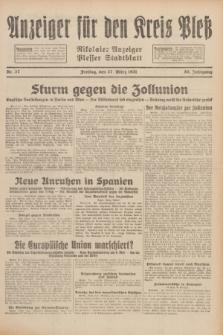 Anzeiger für den Kreis Pleß : Nikolaier Anzeiger : Plesser Stadtblatt. Jg.80, Nr. 37 (27 März 1931)