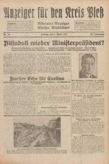Anzeiger für den Kreis Pleß : Nikolaier Anzeiger : Plesser Stadtblatt. Jg.80, Nr. 40 (3 April 1931)