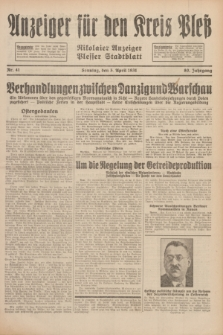 Anzeiger für den Kreis Pleß : Nikolaier Anzeiger : Plesser Stadtblatt. Jg.80, Nr. 41 (5 April 1931)