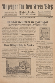 Anzeiger für den Kreis Pleß : Nikolaier Anzeiger : Plesser Stadtblatt. Jg.80, Nr. 44 (12 April 1931)