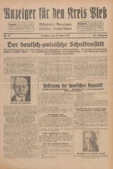 Anzeiger für den Kreis Pleß : Nikolaier Anzeiger : Plesser Stadtblatt. Jg.80, Nr. 47 (19 April 1931)