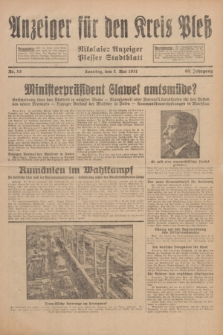 Anzeiger für den Kreis Pleß : Nikolaier Anzeiger : Plesser Stadtblatt. Jg.80, Nr. 53 (3 Mai 1931)