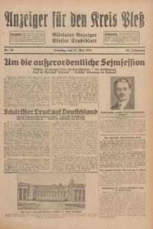 Anzeiger für den Kreis Pleß : Nikolaier Anzeiger : Plesser Stadtblatt. Jg.80, Nr. 59 (17 Mai 1931)