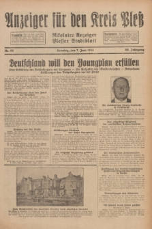 Anzeiger für den Kreis Pleß : Nikolaier Anzeiger : Plesser Stadtblatt. Jg.80, Nr. 68 (7 Juni 1931)
