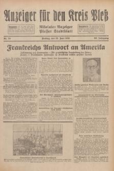 Anzeiger für den Kreis Pleß : Nikolaier Anzeiger : Plesser Stadtblatt. Jg.80, Nr. 76 (26 Juni 1931)
